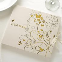 Elegant Butterfly Guest Book - Ivory & Gold